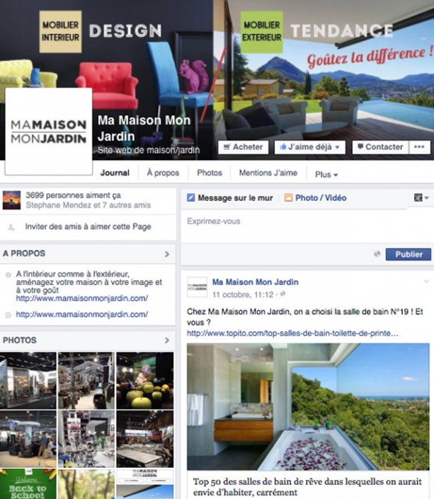 Community management pour la page Facebook Ma Maison Mon Jardin