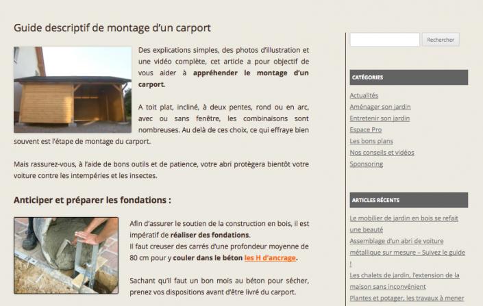 Production de contenus et strat gie seo pour france abris - Montage d un carport ...