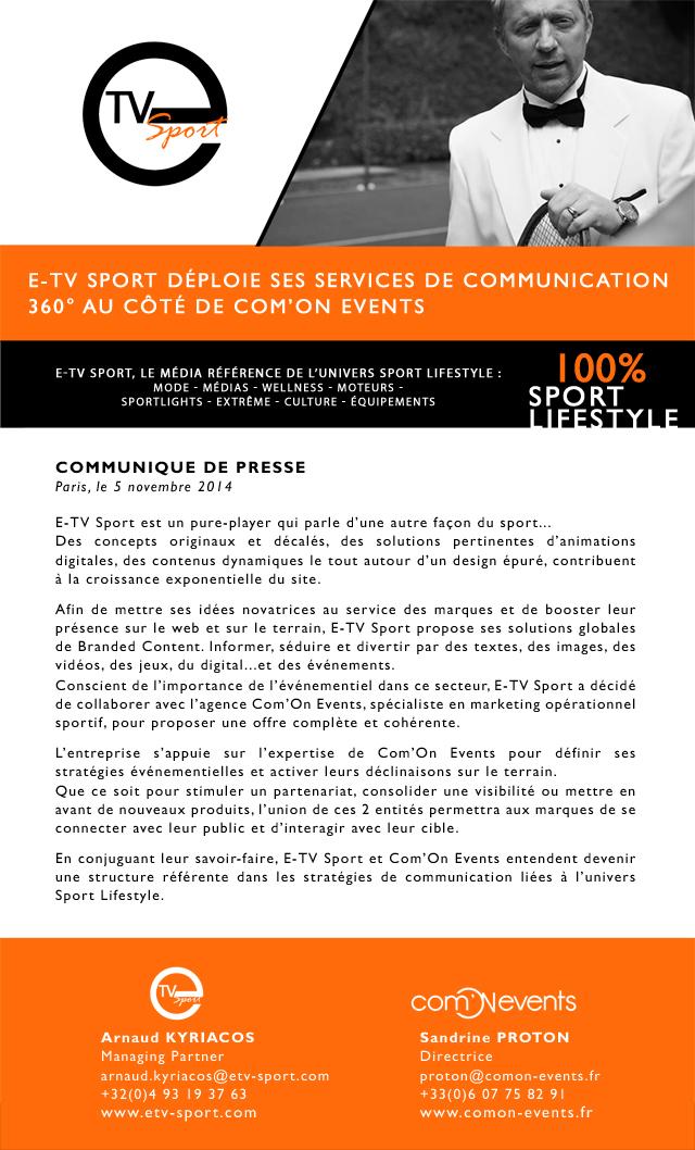 Communiqué de presse présentant l'offre de communication créée par E-TV Sport et Com'On Events
