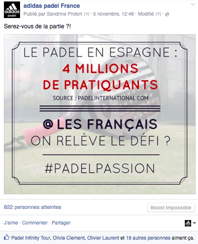 Mission de community maangement pour adidas padel en France