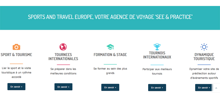 Page web présentant les 5 pôles d'expertises de l'agence Sports and Travel Europe by Com'On Events