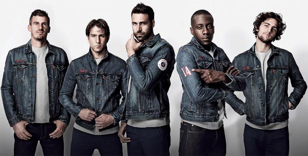 Co-branding entre Levi's et le Paris Saint Germain avec notamment une veste en jean logotée PSG