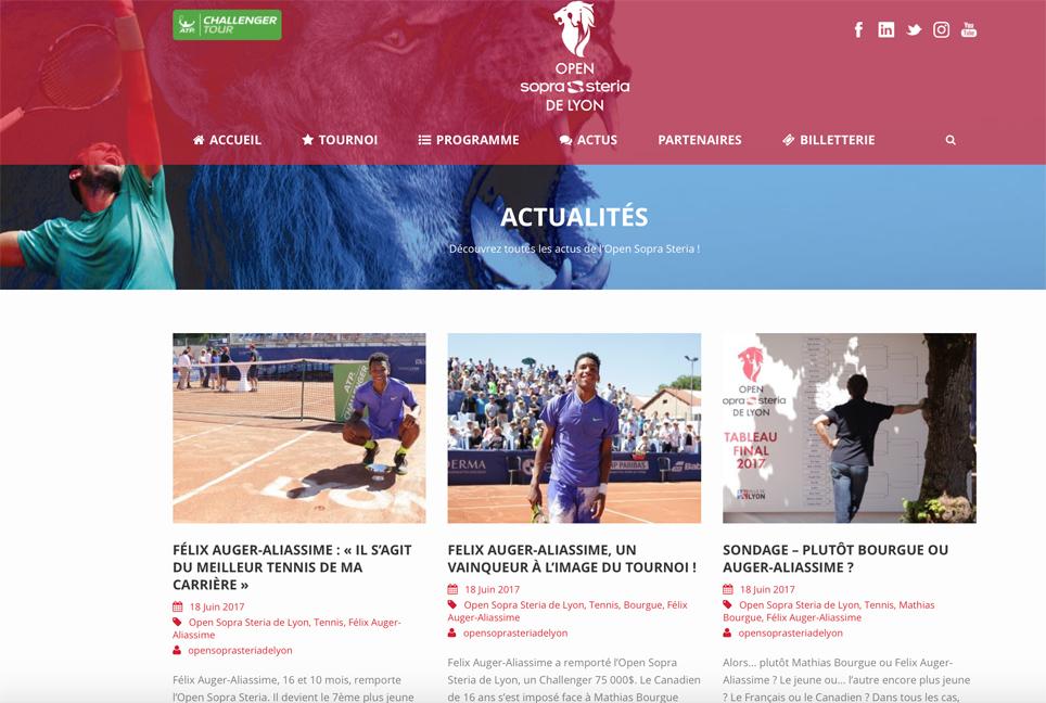 Production de contenus pour le site du tournoi de tennis de l'Open Sopra Steria